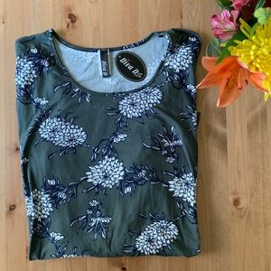Soft Olive Green Floral Tunic Top